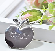Personalized Engraving Apple Metal Keychain  (Set of 4)