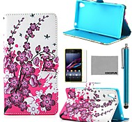 COCO FUN® Pink Floral Flower Pattern PU Leather Case  for Sony Xperia Z1