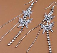 Fashion New Copper Butterfly Drop Earrings Random Color