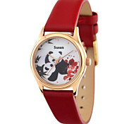 Personalized Mother's Day Gift JUST2YOU Citizen Movement Women's Suzhou Embroidery Style Panda Mother Pattern  in Gold Case