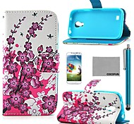 COCO FUN® Pink Floral Flower Pattern PU Leather Case with Screen Protector and Stylus for Samsung Galaxy S4 Mini i9190