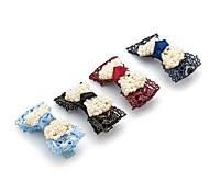 1PC Korean Bowknot with Pearls and Lace Barrette(Random Color)