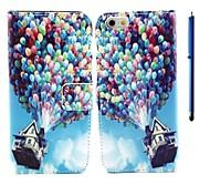 4,7 polegadas caso padrão balão pu couro carteira e pena para iphone 6 (cores sortidas)