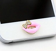 1Pcs Bowknot Lipstick 1cm Buttons Stickers for iPhone and Others