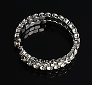 Fashion  Metal  Double  Rows Rhinestone Crystal Bangle Bracelet