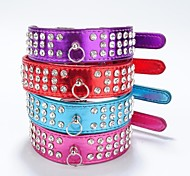 Cat / Dog Collar Reflective / Rhinestone Red / Black / Purple / Rose PU Leather
