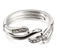 Fashion Glisten Crystal Three Circle Silver Alloy Bangles(1 Pc)