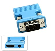 HDMI hembra a VGA macho& adaptador de salida de audio para PC proyector macbook laptop monitor azul / oro