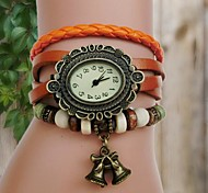 Women's Round Dial Leather Band Bell Pendant Retro Style Quartz Bracelet Watch(Assorted Colors)