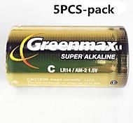 1.5V LR14 tipo C alcalinas 5pcs GreenMax