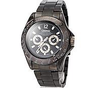 Men's Business Style Black Steel Band Quartz Wrist Watch