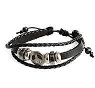 FashionHot New Punk  Genuine Leather and PU Peace Sign Adjustable Bracelet