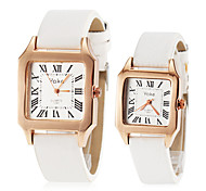 Couple's Roman Number Dial Square Dial PU Band Quartz Fashion Watch (Assorted Colors)