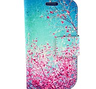 Cherry Blossom Pattern PU Leather with Case and Card Slot for Samsung S3 Mini I8190
