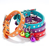 Cat / Dog Collar With Bell / Rhinestone Red / Black / Blue / Pink / Yellow / Purple / Rose PU Leather