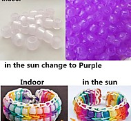 Approx 100PCS Purple UV Changing Pony Beads Rainbow Color Loom Rubber Bands Bracelet