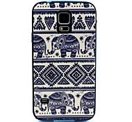 2-in-1 kleiner Elefant Muster TPU rückseitige Abdeckung mit pc autostoßfest weiche Tasche für Samsung Galaxy S5 i9600