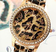 Women's Leopard Pattern Round Dial Rubber Band Quartz Fashion Watch