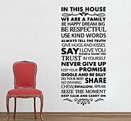 jiubai® regra casa citação parede adesivo de parede decalque, 57 centímetros * 125 centímetros