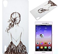 Beautiful Girl Pattern PC Hard Case for Huawei Ascend P7