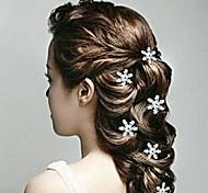 Fashion 8cm Snowflake Women's White Alloy and Imitation Pearl Flower U Shape Hair Sticks (White)(5Pcs)