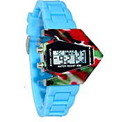 Unisex Watch Sport Dial Silicone Strap Color Aircraft LED Display Wrist Watch (Assorted Colors)