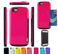 Two-in-One Armor Design PC and Silicone Cover with Card Slot for iPhone 6 (Assorted Colors)