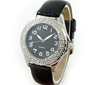 Women's Fashion Crystal Case PU Band Quartz Wrist Watch