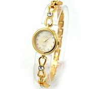 Women's Waterproof Round Dial Crystal Gold Bracelet Quartz Watch