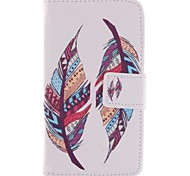 Colored Feather Patterns PU Leather Full Body Case with Stand and Card Slot for Motorola Moto E