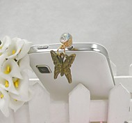 Fashion Delicate Butterfly Shape Alloy Diamante Anti-dust Plug for Universal Mobile Phone