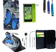 Teste padrão de borboleta capa de couro pu com slot para cartão com caneta de toque, película protetora 2 pcs e fone de ouvido para iphone