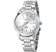 Men's Business Style Silver Steel Band Quartz Wrist Watch