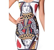 The Queen of Hearts Skater Dress Night Club Uniform Costumes Uniforms Halloween / Christmas / New Year White Print Lycra / Polyester Dress