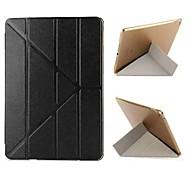 ultra delgado variante plegable de cuero PU con cristal duro volver cubierta elegante del caso del soporte para el ipad 2 de aire (colores