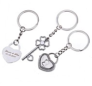 Personalized Engraving Keylock Metal Couple Keychain