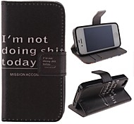 English Letters Pattern PU Leather Full Body Cover with Stand and Money Holder for iPhone 4/4S