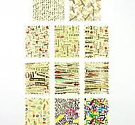 Adesivi stampa di trasferimento dell'acqua chiodo decalcomanie 1x11pcs lettera per decorazioni di arte del chiodo del chiodo (25 * 16 * 0,1