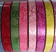 Lureme 25 Yards 2cm Wide Printing Flower Gift Packaging Silk Ribbon (Random Color)