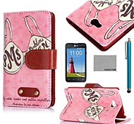COCO FUN® Retro Pink Memony Pattern PU Leather Case with Screen Protector, Stylus and Stand for LG L80