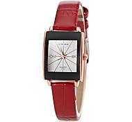 quartzo das mulheres quadrado Dial relógio de pulso fino banda analógica pu