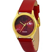 Personalized Mother's Day Gift Women's Watch Citizen Movement Orion's Stars Gold Case Red Genuine Leather Belt