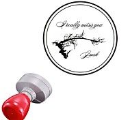 Personalized 42x42mm Christmas Wintersweet Flower Style 2 Lines Round Engraved Photosensitive Signet Stamp(15 Letters)