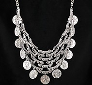 Europa e América do vintage moeda esculpida tassle jóia colar