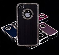 Brushed Aluminum Diamond Frame Case for iPhone 4/4S (Assorted Colors)