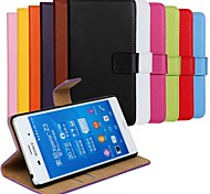 Solid Color Genuine Leather Full Body Case with Stand and Card Slot for Sony Xperia Z3 (Assorted Colors)