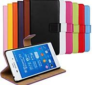 cor sólida couro genuíno caso de corpo inteiro com suporte e slot para cartão para Sony Xperia z3 (cores sortidas)