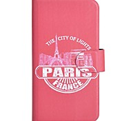 Red Paris Pattern PU Mobile Phone Holster With Card Slot for iPhone 6 Plus