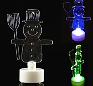 LED Snowman Candle Style Colorful Mini Desktop Lamp with Broom for Holiday Decoration