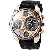 Men's Gold Dial Dual Time Zones Fabric Band Quartz Wrist Watch (Assorted Colors)